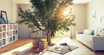 47173093 - picnic in a home interior. 3d concept illustration